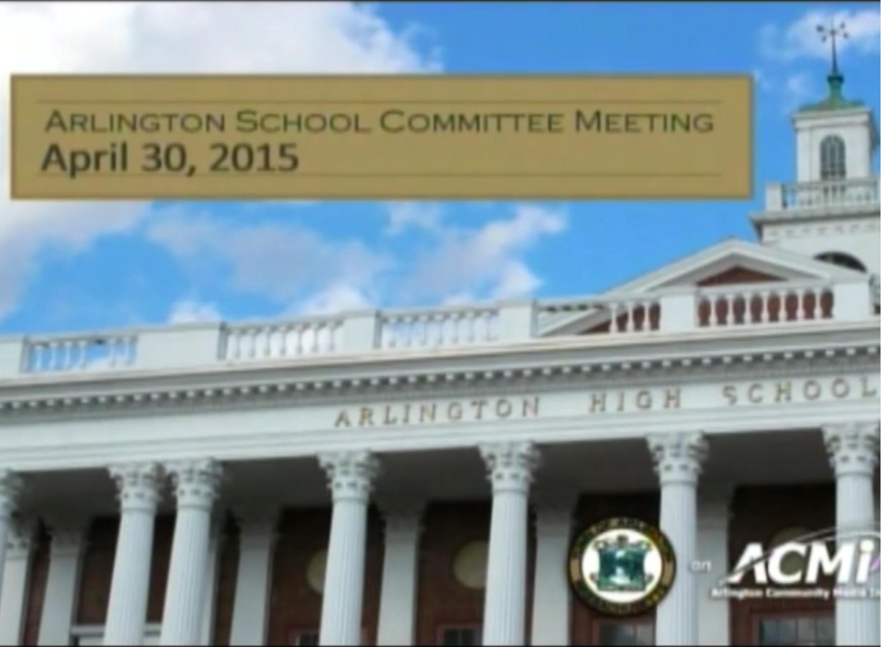 School Committee Meeting – April 30, 2015