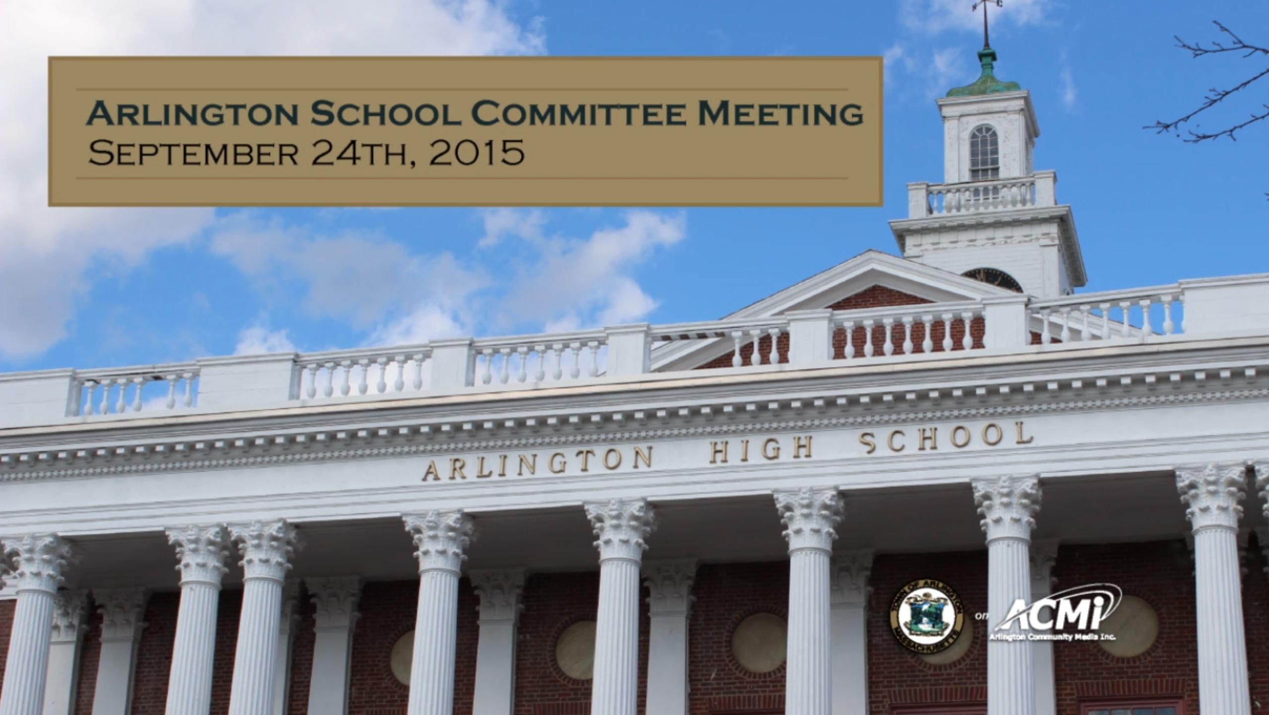 School Committee Meeting – September 24, 2015