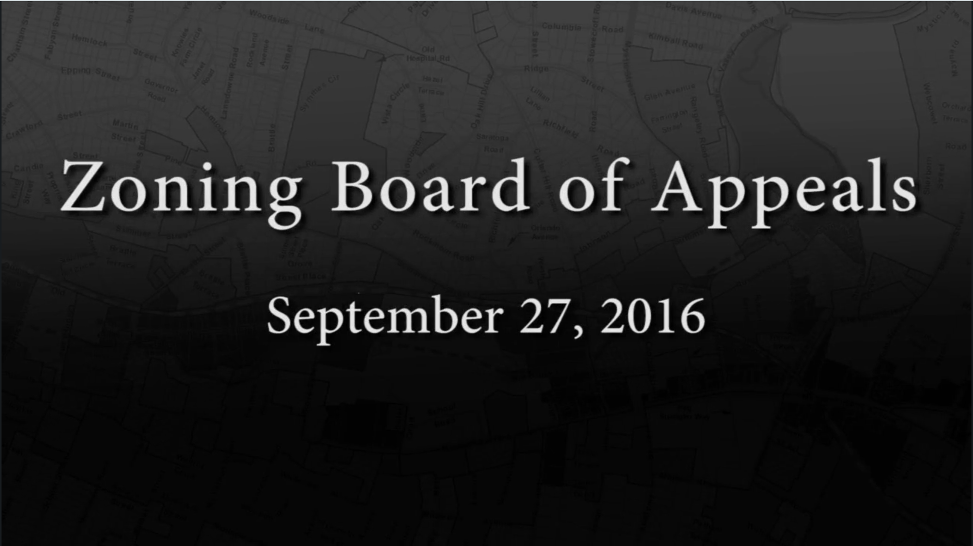 Zoning Board of Appeals Meeting – September 27, 2016