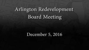 Redevelopment Board Meeting – December 5, 2016