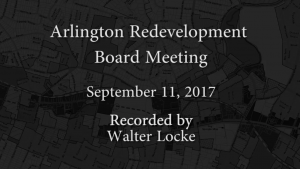 Redevelopment Board Meeting – September 11, 2017