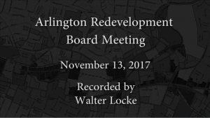 Redevelopment Board Meeting – November 13, 2017