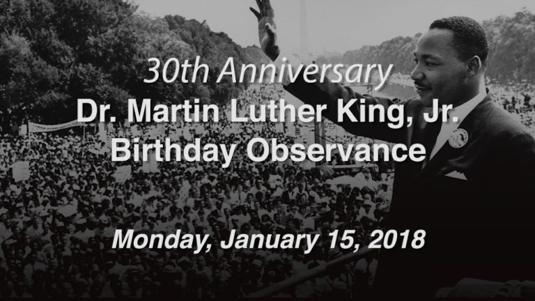 Dr. Martin Luther King, Jr. Birthday Observance 2018
