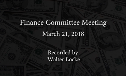 Finance Committee Meeting – March 21, 2018