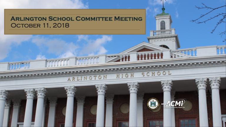 School Committee Meeting – October 11, 2018
