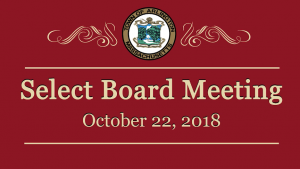 Select Board Meeting – October 22, 2018