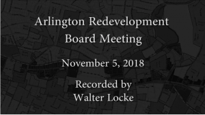 Redevelopment Board Meeting – November 5, 2018