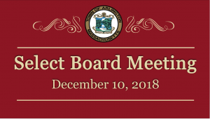 Select Board Meeting – December 10, 2018