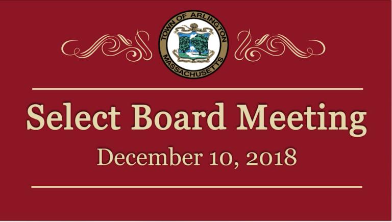 Select Board Meeting – December 10, 2018