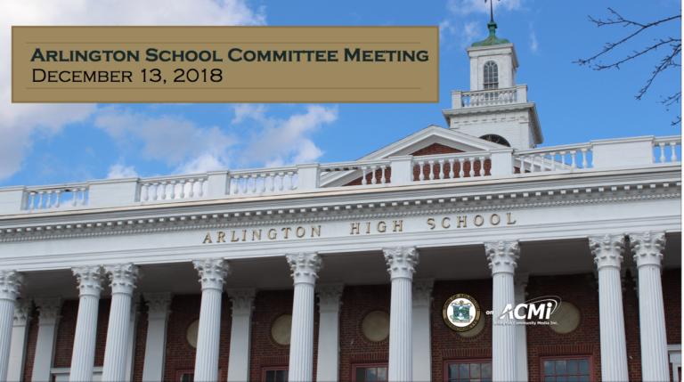 School Committee Meeting – December 13, 2018