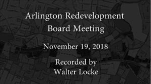 Redevelopment Board Meeting – November 19, 2018