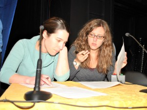 Moderators, Nicole Laskowski and Maria Chutchian of the Arlington Advocate prepare their questions for the candidates