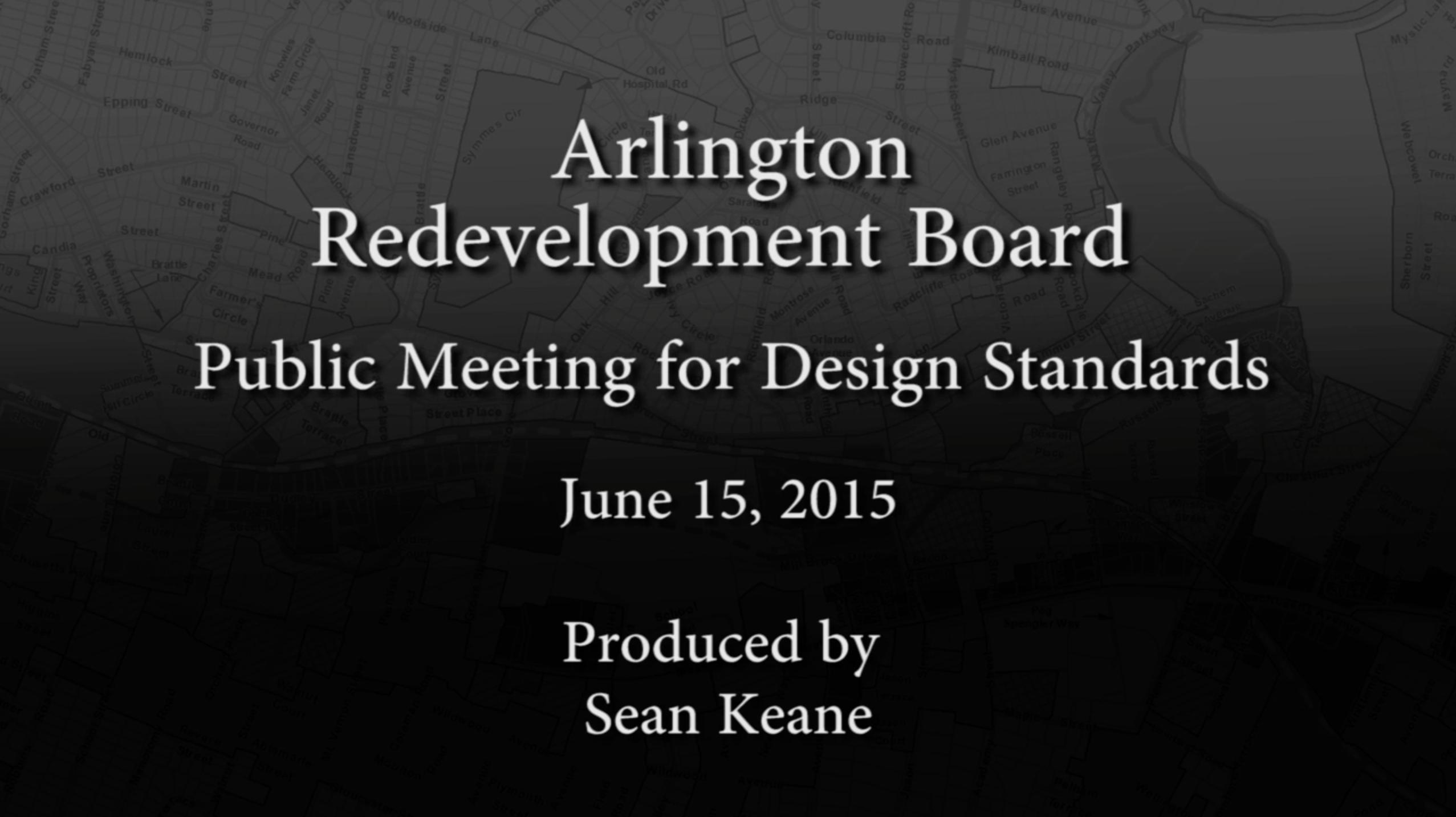 Redevelopment Board: Public Meeting for Design Standards – June 15, 2015