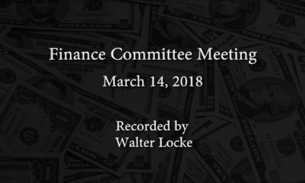 Finance Committee Meeting – March 14, 2018