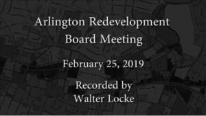 Redevelopment Board Meeting – February 25, 2019