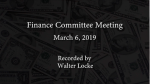 Finance Committee Meeting – March 6, 2019