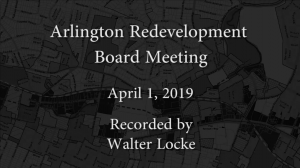 Redevelopment Board Meeting – April 1, 2019