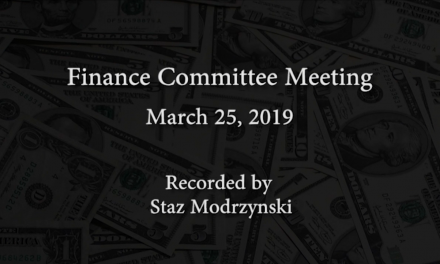 Finance Committee Meeting – March 25, 2019