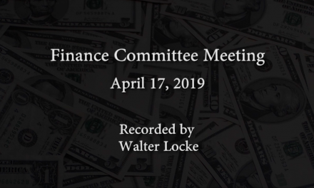 Finance Committee Meeting – April 17, 2019