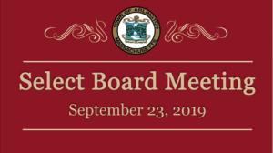 Select Board Meeting – September 23, 2019