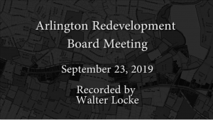 Redevelopment Board Meeting – September 23, 2019