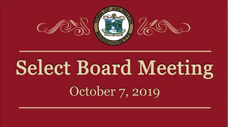 Select Board Meeting – October 7, 2019