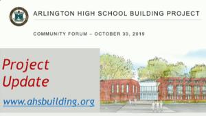 AHS Building Project Community Forum – October 30, 2019