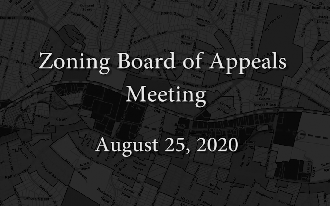 Zoning Board of Appeals Meeting – August 25, 2020