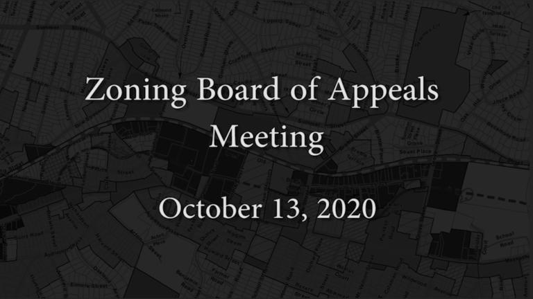 Zoning Board Meeting – October 13, 2020