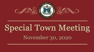 Special Town Meeting – November 30, 2020
