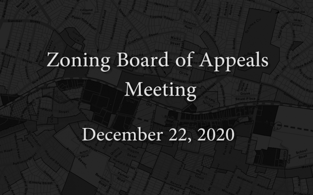 Zoning Board of Appeals Meeting – December 22, 2020