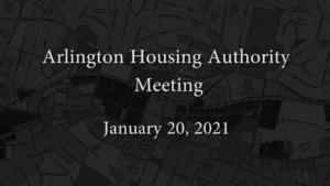 Housing Authority Meeting – January 20, 2021