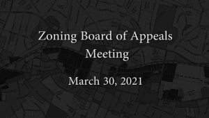 Zoning Board of Appeals – March 30, 2021