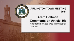 Aram Hollman Comments on Article 35: Residential Mixed Use in Industrial Districts