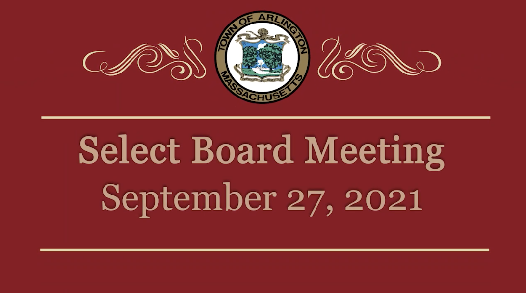 Select Board Meeting – September 27, 2021
