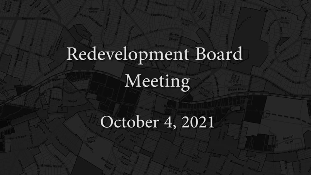 Redevelopment Board Meeting – October 4, 2021