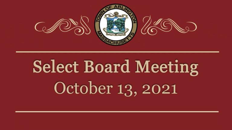 Select Board Meeting – October 13, 2021